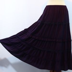 White Stag Purple Tiered Maxi Skirt